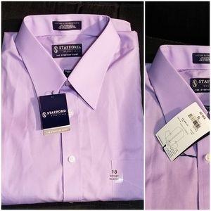 NWT Stafford Lavender Short Sleeve Dress Shirt 18